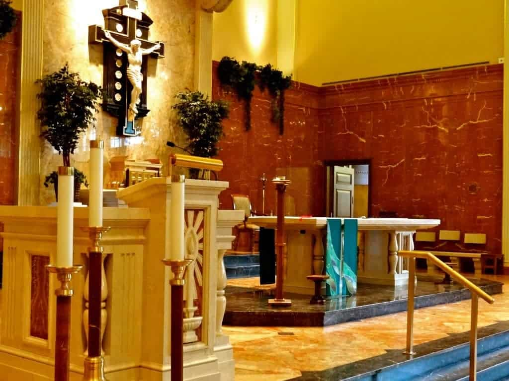 Some churches, like Christ King Parish in Wauwatosa, have swapped their marble altar rail for banisters to actually accommodate entry into the sanctuary!